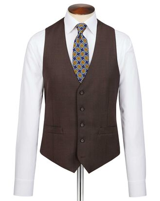 Brown slim fit birdseye travel suit vest