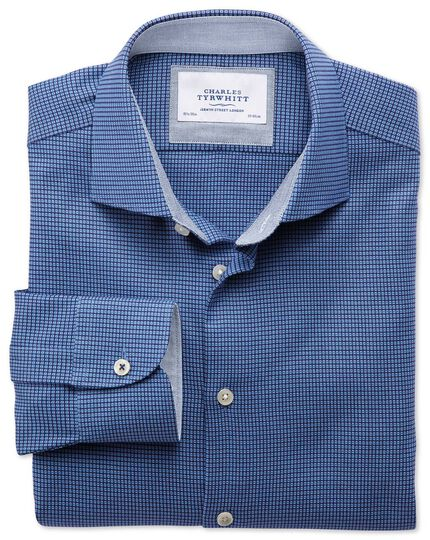 Classic fit semi-cutaway collar business casual textured royal blue shirt
