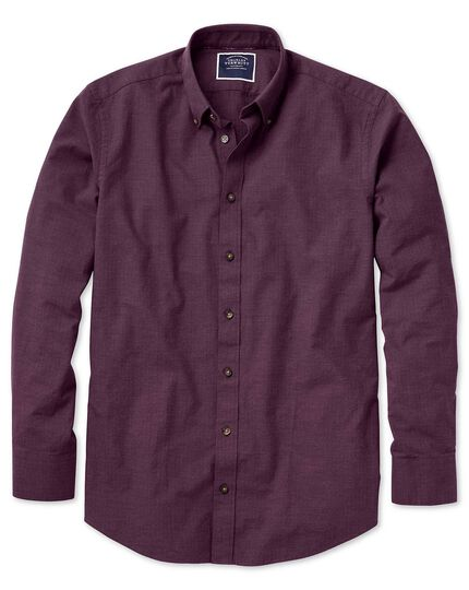 Extra slim fit berry herringbone melange shirt