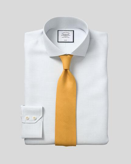 Spread Collar Non-Iron Cotton Slub Shirt - Light Blue