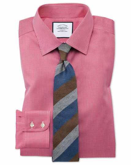 Chemise rose vif coupe droite à motif pied-de-poule sans repassage