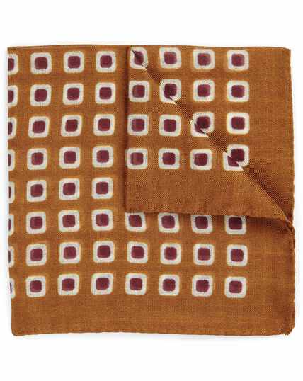 Orange square luxury Italian pocket square