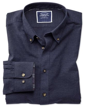 Classic fit blue herringbone melange shirt