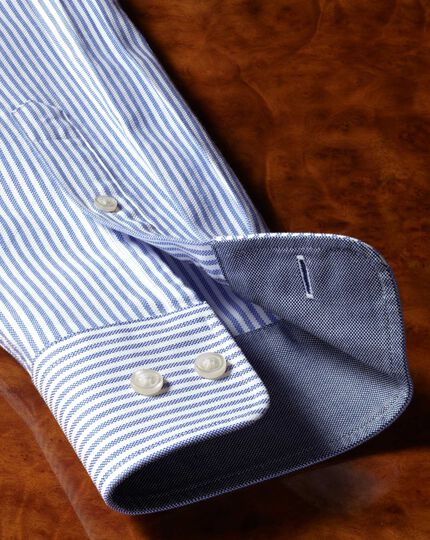 Classic fit button-down washed Oxford white and blue stripe shirt
