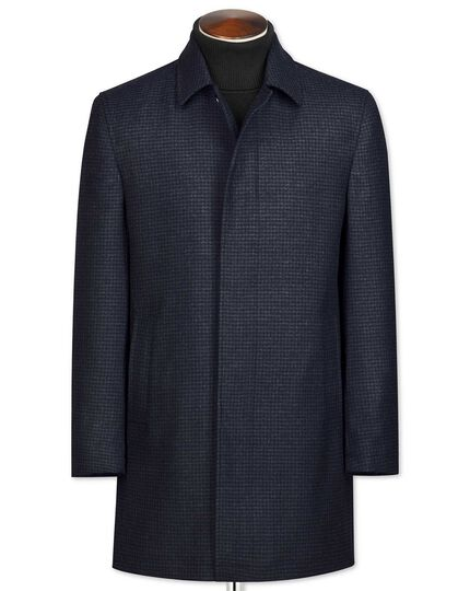Navy houndstooth wool car coat
