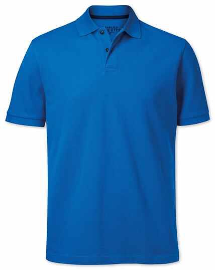 Bright blue pique polo
