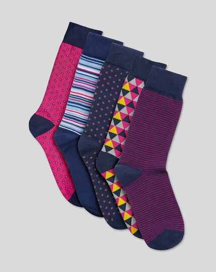 Patterned Socks Gift Box Set - Pink Multi