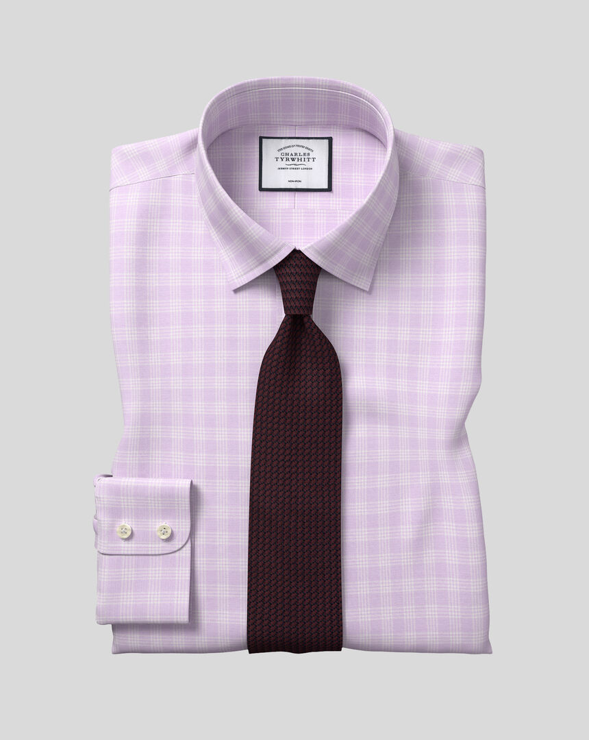 Classic Collar Non-Iron Prince Of Wales Check Shirt - Lilac