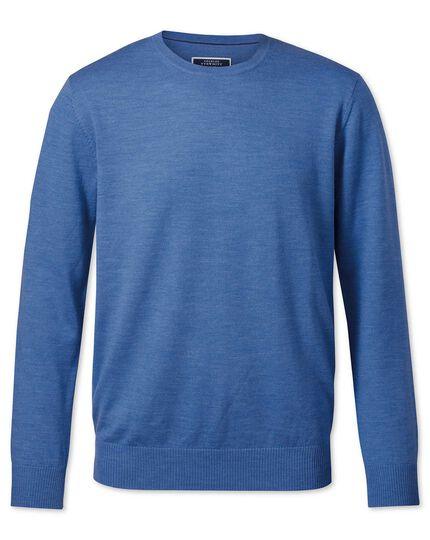 Blue merino wool crew neck sweater