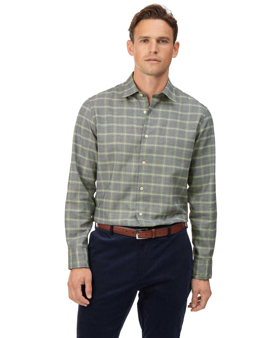 Slim fit grey Prince of Wales check cotton with TENCEL™