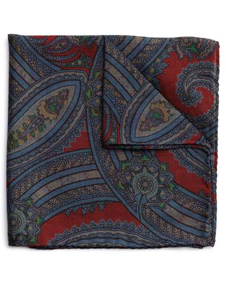 Red wool silk paisley print Italian pocket square
