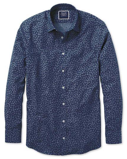 Classic fit leaf print blue chambray shirt