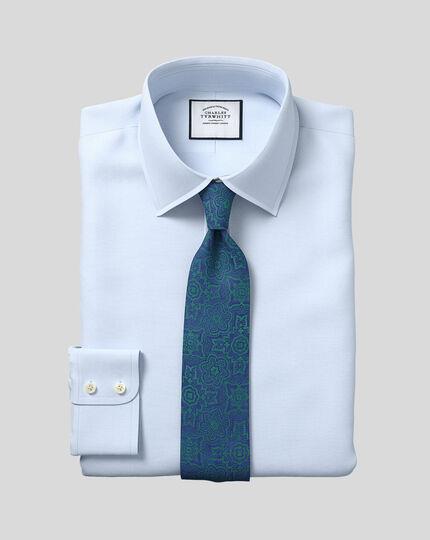 Hemd aus ägyptischer Baumwolle mit Gittermuster - Himmelblau