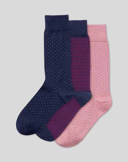 Dash & Stripe 3 Pack Socks - Navy & Pink