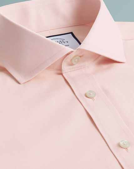 Non-Iron Tyrwhitt Cool Poplin Shirt - Peach