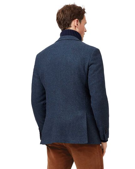 Slim fit blue textured wool jacket