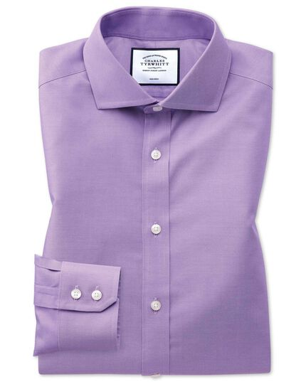 Slim fit non-iron spread collar lilac twill shirt