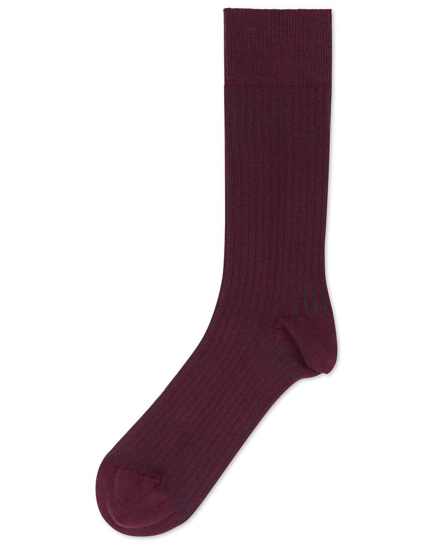 Burgundy and navy vertical stripe socks