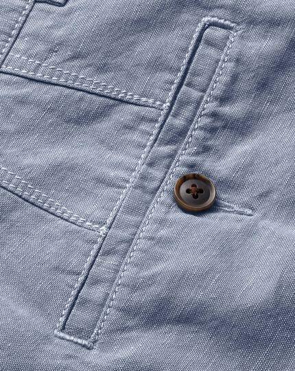 Sky blue cotton linen shorts