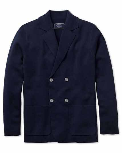 Navy merino wool double breasted blazer
