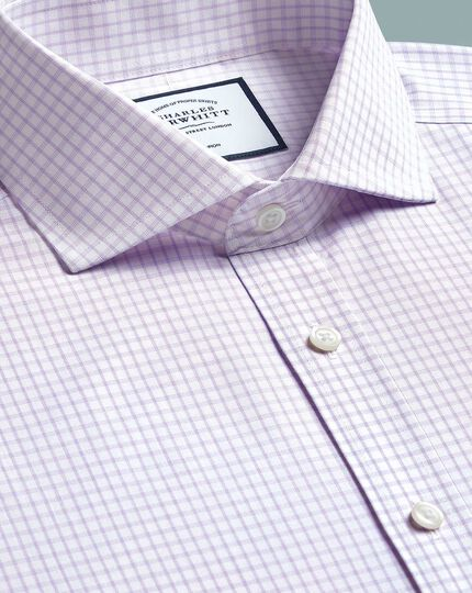 Slim fit non-iron 4-way stretch lilac shirt