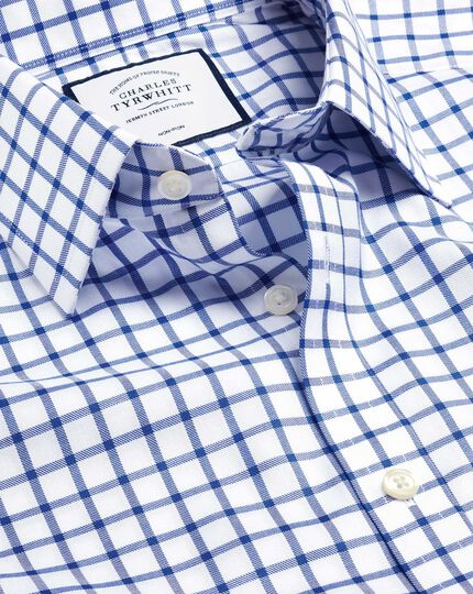 Non-Iron Twill Grid Check Shirt - Royal Blue
