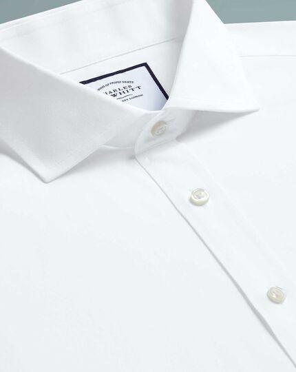 Bügelfreies Extra Slim Fit Popeline-Hemd mit Haifischkragen in Weiß