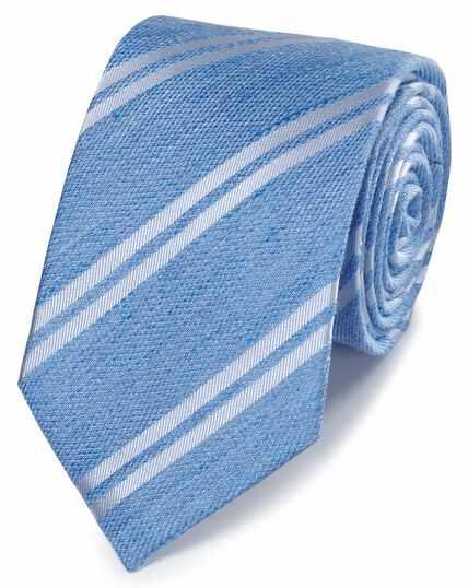 Cravate classique bleue en lin et soie à rayures