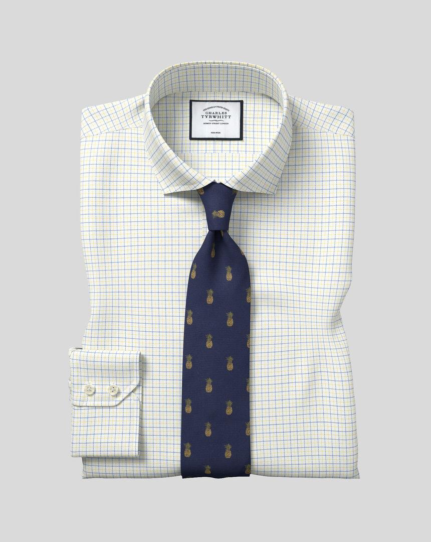 Cutaway Collar Non-Iron Cotton Stretch Check Shirt - Blue & Yellow