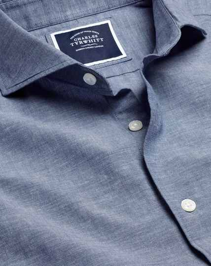 Cutaway Collar Chambray Shirt - Mid Blue