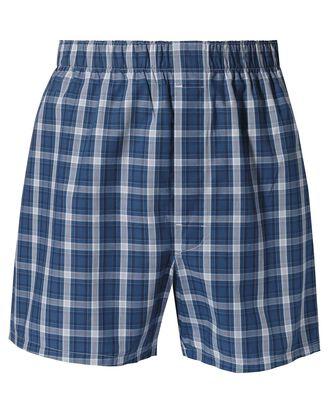 Indigo blue check woven boxers