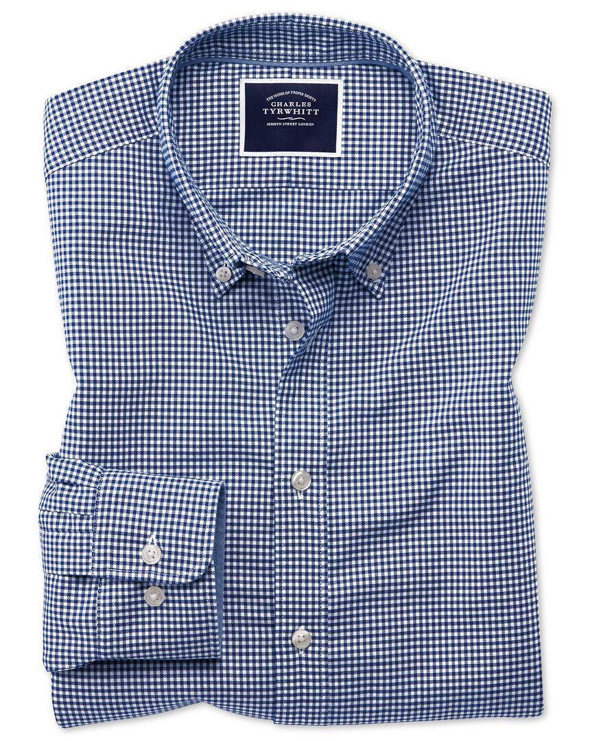 Extra slim fit royal blue gingham soft washed non-iron stretch shirt