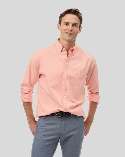 Oxfordhemd mit Button-down-Kragen - Korallenrot