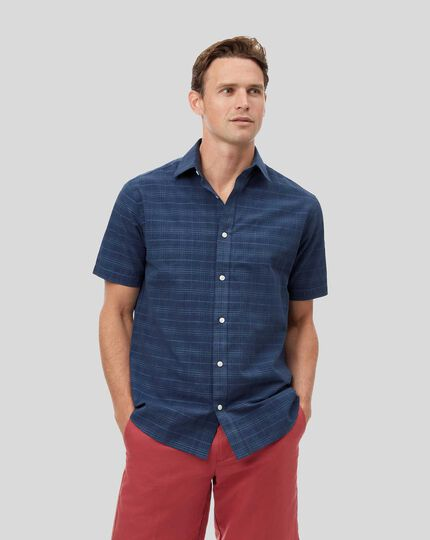 Classic Collar Short Sleeve Tone-on-tone Check Shirt - Navy