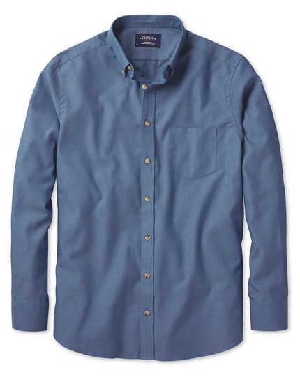 Chemise bleue en twill slim fit sans repassage