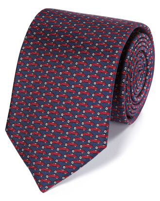 Navy and red car print classic tie