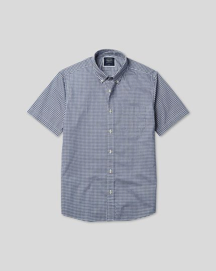 Button-Down Collar Short Sleeve Soft Washed Stretch Poplin Check Shirt - Navy