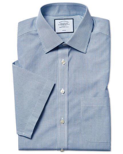 Bügelfreies Tyrwhitt Cool Classic Fit Popeline-Kurzarmhemd mit Karos in Blau