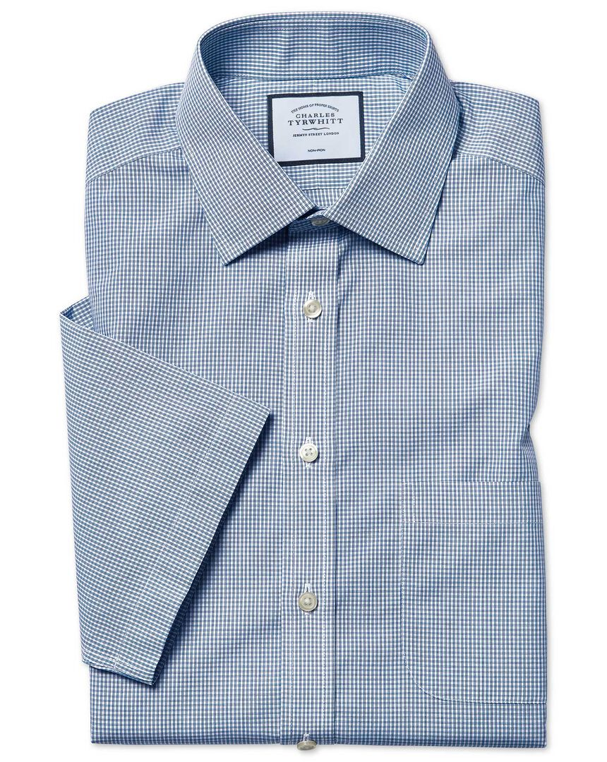 Classic fit short sleeve non-iron Tyrwhitt Cool poplin check blue shirt