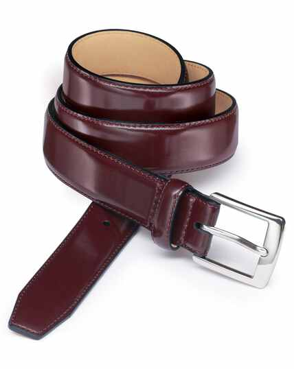 Oxblood leather dress belt