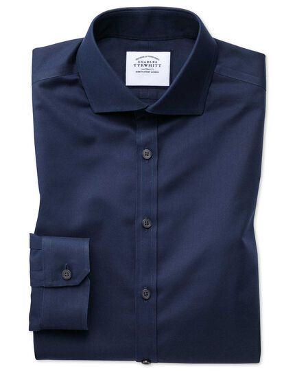 Super slim fit cutaway non-iron twill navy shirt