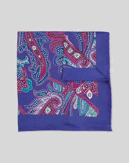 Ornate Paisley Print Pocket Square - Purple & Pink