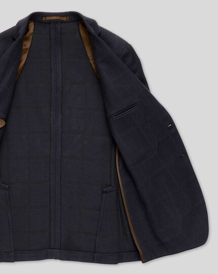 Italian Check Jersey Jacket - Navy