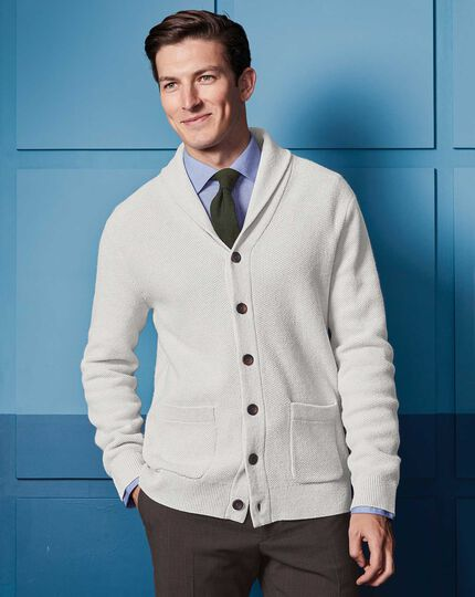 Silver grey brushed merino textured cardigan