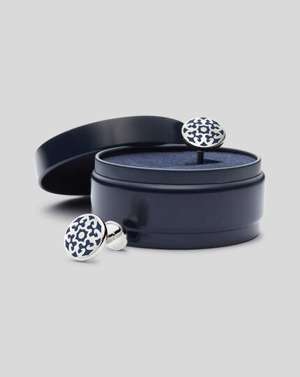 Enamel Ornate Cufflink - Navy & Silver