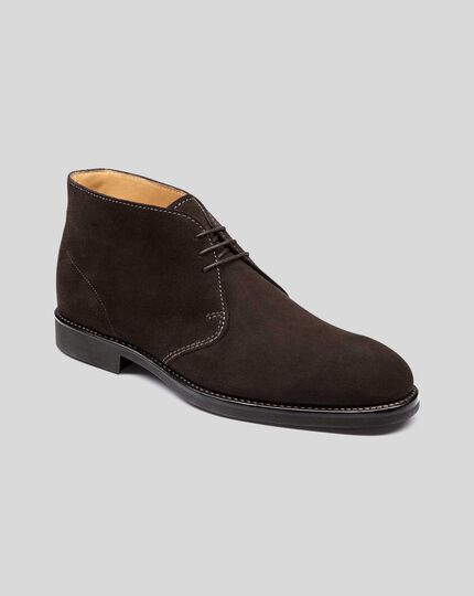 Goodyear Welted Suede Chukka Boots - Chocolate