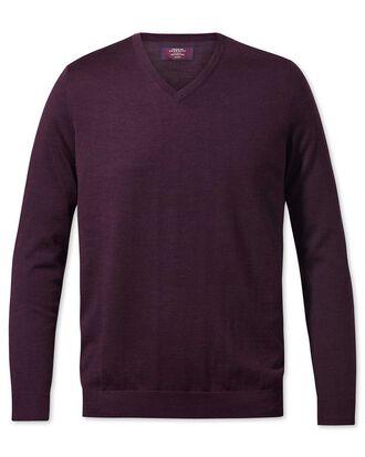 Wine v-neck merino-silk jumper