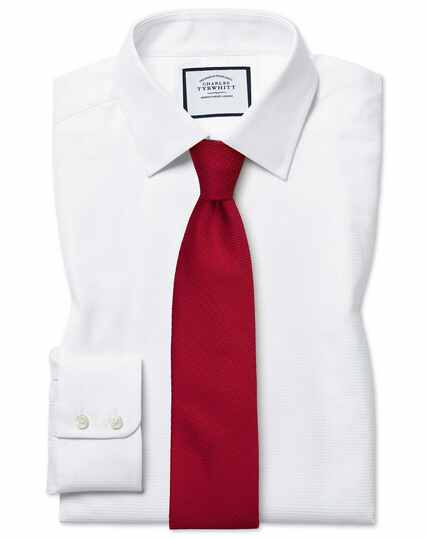 Slim fit Egyptian cotton chevron white shirt