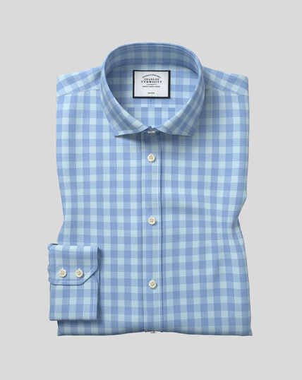 Spread Collar Non-Iron Tyrwhitt Cool Poplin Check Shirt - Sky