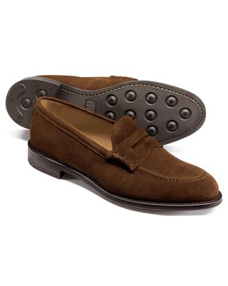 Brown suede penny loafers